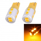 T10 5W 250lm 10 x SMD 5630 LED Golden Light Car Turn Signal Corner Parking Lamp - (DC 12V / 2 PCS)