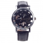 Stylish Roman Numerals Scale Hand-Cranking Mechanical Men's Analog Wrist Watch - Black + Silver