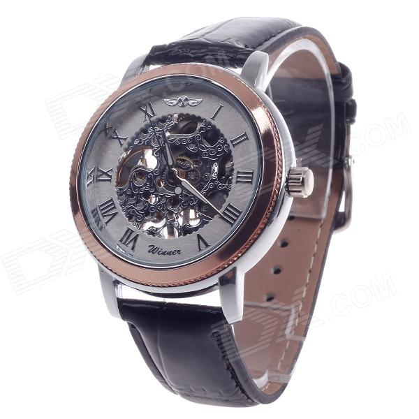 Stylish Roman Numerals Scale Hand-Cranking Mechanical Men's Wrist Watch - Black + Rose Gold + Silver 40mm corgeut white sterile dial rose gold case miyota automatic mens watch