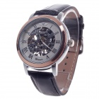 Stylish Roman Numerals Scale Hand-Cranking Mechanical Men's Wrist Watch - Black + Rose Gold + Silver