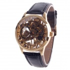 Fashionable Hand-Cranking Mechanical Men's Wrist Watch - Black + Golden