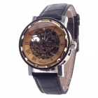 Fashionable Roman Numerals Scale Automatic Mechanical Men's Wrist Watch - Black + Golden + Silver