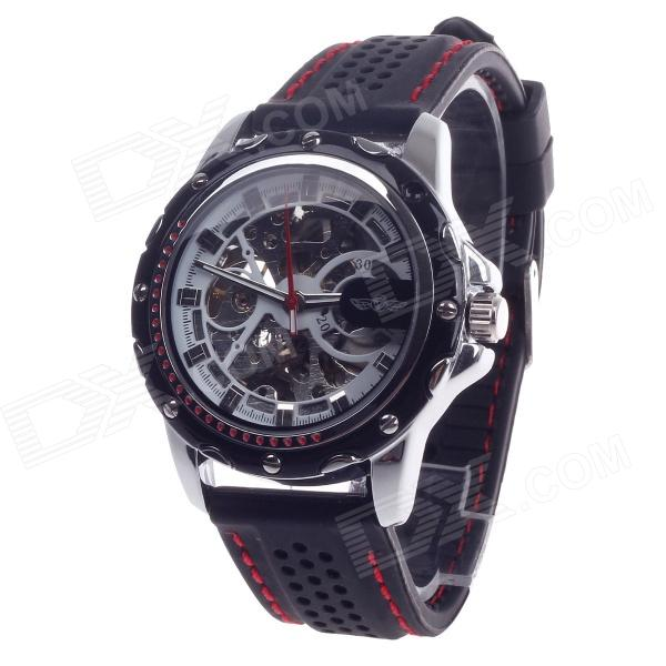 Fashionable Automatic Mechanical Men's Analog Wrist Watch - Black + Silver
