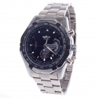 Stylish Zinc Alloy Band + Simple Calendar Automatic Mechanical Men's Wrist Watch - Silver + Black