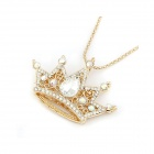Dominate Delicate Crown Style Necklace / Sweater Chain - Golden
