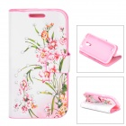 Elegant Flower Style Protective Rhinestone + PU Leather Case for Samsung Galaxy S4 Mini - Pink