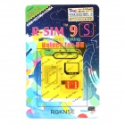 R-SIM 9S Unlock SIM Card w/ SIM Card Adapters for Iphone 5S - Black + Red + Golden