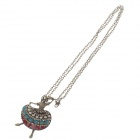 Dancing Girl Pendant Sweater Women's Necklace - Bronze + Red + Blue
