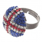 Fashionable Union Jack Style Rhinestone Ring for Women - Deep Blue + Red + Rifle (UK Size 16)