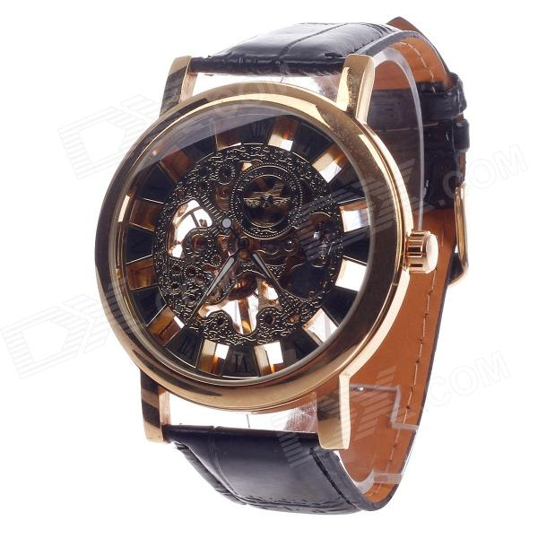 Fashionable Roman Numerals Scale Hand-Cranking Mechanical Men's Analog Wrist Watch - Black + Golden
