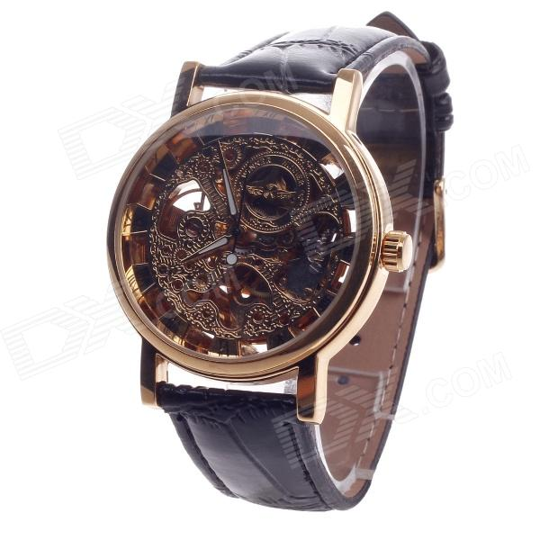 Fashionable Roman Numerals Scale Automatic Mechanical Men's Analog Wrist Watch - Black + Golden