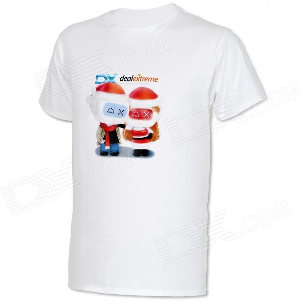 DXman Christmas Cotton Short Sleeves T-Shirt for Men - White (Size L)