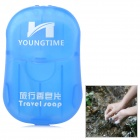 YOUNG TIME Portable Travel Hand Washing Scented Foaming Paper Soap w/ Case - Blue (20 PCS)