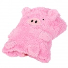HQS-G105915 Carton Pig Style Dual-use Plush Blanket Pillow - Pink