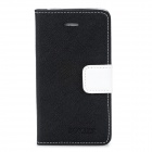 BOXIER LX-BXI4 Protective PU Leather + TPU Case w/ Stand for Iphone 4 / 4S - Black + White