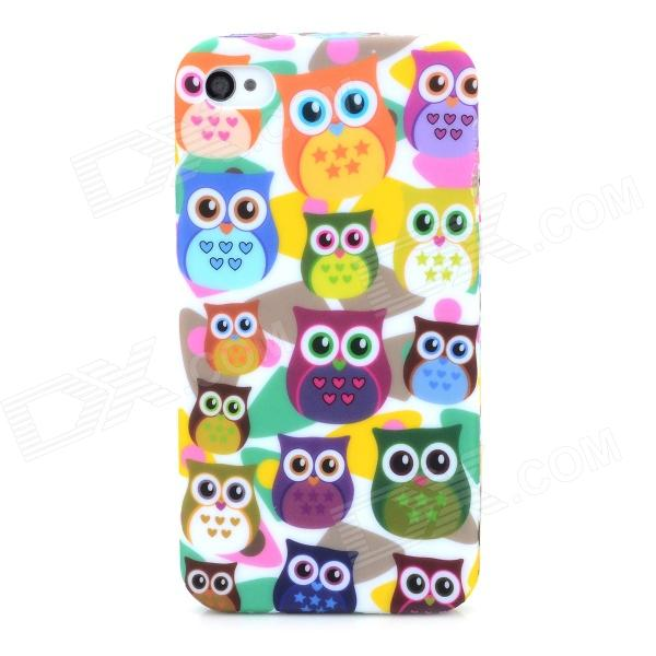 Owls Pattern Protective TPU Back Case for Iphone 4 / 4S - Multicolored stylish 3d eagle pattern protective abs pc back case for iphone 4 4s multicolored
