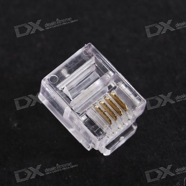 RJ11 6P4C 4-Pin Telephone Connector (100-Pack)