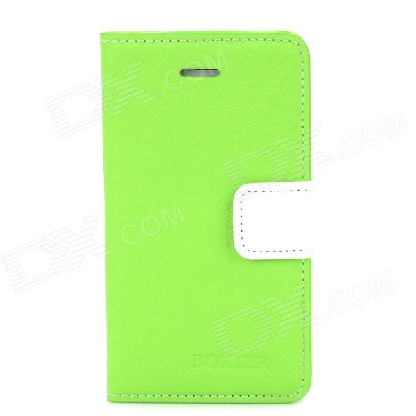 BOXIER LX-BXI4 Protective PU Leather + TPU Case w/ Stand for Iphone 4 / 4S - Green + White i c protective pu leather case stand w touch visual window cover for iphone 4 4s white