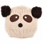 Kid's Cute Cartoon Panda Style Knitted Woolen Yarn Cap Hat - Off-white + Brown