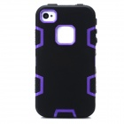 Detachable 3-in-1 Protective Silicone + PC Back Case for Iphone 4 / 4S - Purple + Black