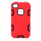 Detachable 3-in-1 Protective Silicone + PC Back Case for Iphone 4 / 4S - Red + Black