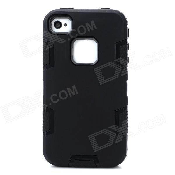все цены на Detachable 3-in-1 Protective Silicone + PC Back Case for Iphone 4 / 4S - Black онлайн