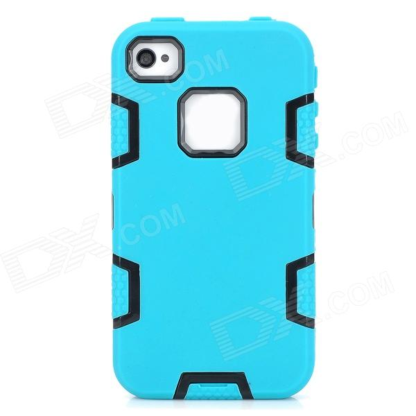 все цены на 3-in-1 Protective Silicone + PC Back Case for Iphone 4 / 4S - Blue-green + Black онлайн