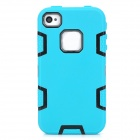 3-in-1 Protective Silicone + PC Back Case for Iphone 4 / 4S - Blue-green + Black