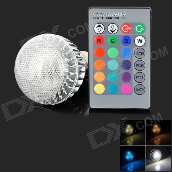 E27 4W 150lm 4 LED RGB Light Bulb w/ Remote Control - Silver + Transparent (85~265V) furniture exhibition bar stool wine red blue color chair retail wholesale free shipping living room hotel ktv chair