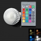 E27 4W 150lm 4 LED RGB Light Bulb w/ Remote Control - Silver + Transparent (85~265V)