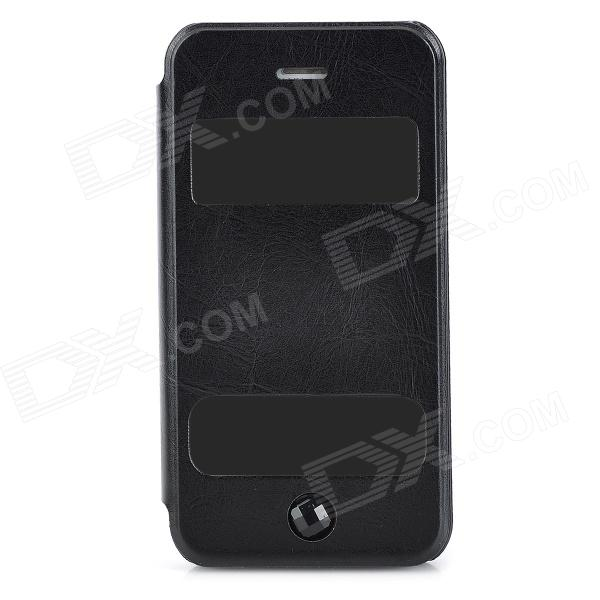 Protective Flip Open PU Leather + Plastic Case w/ Stand / Dual Windows for Iphone 4 / 4S - Black protective pu leather flip open case for iphone 4 4s black