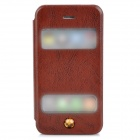 Protective Flip Open PU Leather + Plastic Case w/ Stand / Dual Windows for Iphone 4 / 4S - Broen