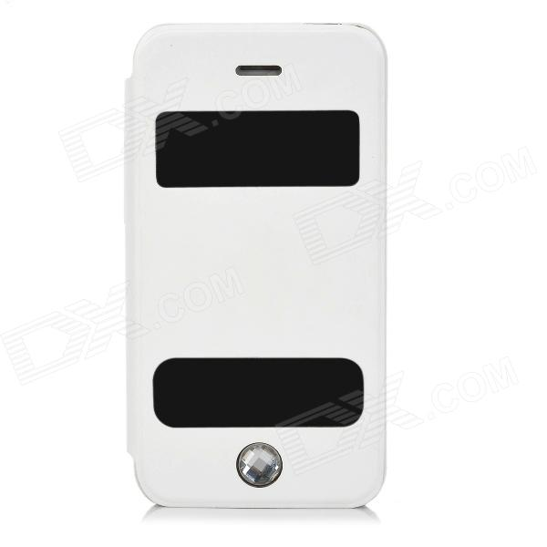 Protective Flip Open PU Leather + Plastic Case w/ Stand / Dual Windows for Iphone 4 / 4S - White protective pu leather flip open case for iphone 4 4s black