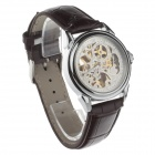 Stylish Men's Automatic Hollow Mechanical Analog Wrist Watch - Brown + White + Golden