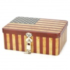 C1DYM Retro USA Flag Pattern Aluminium Alloy Storage Box w/ Lock - Yellow + Red + Black