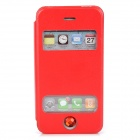 Protective Flip Open PU Leather + Plastic Case w/ Stand / Dual Windows for Iphone 4 / 4S - Red