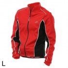 VEOBIKE Men's Stylish Windproof Warm Zipper Dacron Cycling Jersey - Red + Black (L)