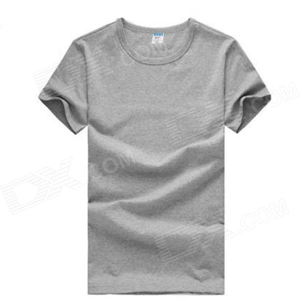 Men's Comfortable Simple Plain Cotton T-shirt - Grey (L)