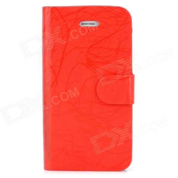 FLOWER SHOW Protective Flip Open PU Leather + Plastic Case for Iphone 4 / 4S - Red protective pu leather flip open case for iphone 4 4s black