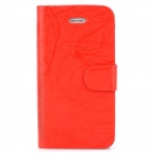 FLOWER SHOW Protective Flip Open PU Leather + Plastic Case for Iphone 4 / 4S - Red