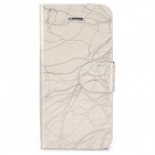 FLOWER SHOW Protective PU Leather + Plastic Case w/ Card Slots for Iphone 5 - Silver Grey