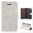 FLOWER SHOW Stylish Cloud Pattern Flip-open PU Leather Case for Iphone 4 / 4S - Silvery Grey