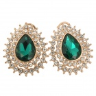 SHIYING d03363 Retro Water-drop Style Lady's Alloy Earrings - Green + Golden (Pair)