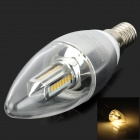 VJ E14 4W 400lm 3200K 32 SMD 3014 Warm White Light Bulb - Transparent + Silver (220V)