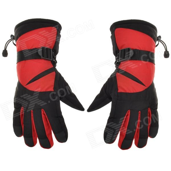 Outdoor Sports Warm Full Finger Ski Gloves - Red + Black (Free Size / Pair) children s ski suit for girls windproof waterproof outdoor sport wear girls skiing jacket pants winter ski jacket girls warm clo