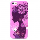 Girl Pattern Diamond Encrusted Protective Back Case for Iphone 5 / 5s - Light Purple + Ink Color