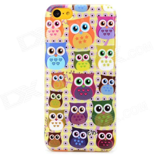 Cute Cartoon Owl Style Protective Plastic Back Case for Iphone 5C - Light Yellow + Multicolor water drops style protective plastic back case for iphone 4 blue