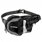 KuGai 03008 Outdoor Mountaineering Nylon Waist Bag - Black + Grey