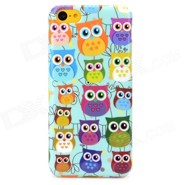 Cute Cartoon Owl Style Protective Plastic Back Case for Iphone 5C - Light Blue + Multicolor 2pcs 1010mah xiaomi yi xiaoyi battery rechargable battery dual charger for xiao mi yi camera sport action camera accessories