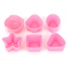 Cute Star Flower Shape Cake / Ice Cube / Jelly Pudding Tray Mold - Pink (6 PCS)